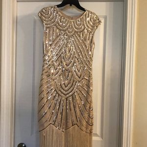 Fun Gatsby Dress with size 8 gold shoes and white